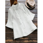 New Women Pure Color 3/4 Sleeve Button-Down Blose