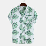 New Men Leaf Printed Hawaiian Style Cotton Casual Short Sleeve