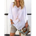 New Women Casual Loose Pure Color V-Neck Flare Sleeve Blouse