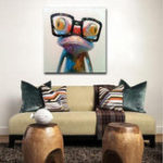 New Hand Painted Oil Paintings Animal Modern Art Happy Frog With Glasses On Canvas Wall Art For Home Decoration