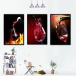 New Miico Hand Painted Three Combination Decorative Paintings Red W-ine Glass Wall Art For Home Decoration