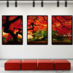 New Miico Hand Painted Three Combination Decorative Paintings Maple Tree Wall Art For Home Decoration