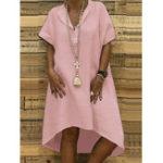 New Irregular Hem Short Sleeve V-neck Solid Color Casual Dress