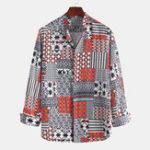 New Mens Colorful Stripe Printing Long Sleeve Casual Shirts