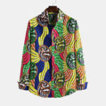 New Men Ethnic Style Printed Casual Cotton Long Sleeve Lapel