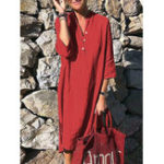 New Women Pure Color Button Down V-Neck 3/4 Sleeve Dress