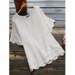 New Women Casual Loose Pure Color O-Neck Short Sleeve Blouse