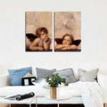 New Miico Hand Painted Combination Decorative Paintings Angel Been Thinking Wall Art For Home Decoration
