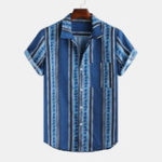 New Men Stripe Printed Ethnic Style Short Sleeve Lapel Casual
