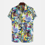New Men Leaf Printed Tropical Style Short Sleeve Lapel Casual