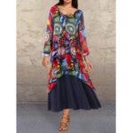 New V-neck Graffiti Print Splice Contrast Color Maxi Dress