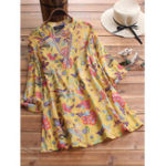 New Women 3/4 Sleeve V-neck Floral Print Vintage Blouse