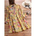 New Women 3/4 Sleeve V-neck Floral Print Vintage Blouse