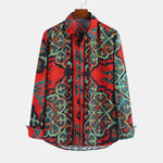 New Men Printed Retro Ethnic Style Long Sleeve Lapel Shirts