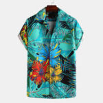 New Art Chrysanthemum Print Short Sleeve Relaxed Shirts