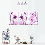 New Miico Hand Painted Three Combination Decorative Paintings Botanic Purple Flowers Wall Art For Home Decoration