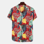 New Mens Leaves Printing Short Sleeve Hawaiian Shirts