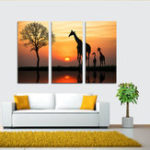 New Miico Hand Painted Three Combination Decorative Paintings Giraffe In The Sunset Wall Art For Home Decoration