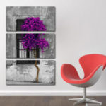 New Miico Hand Painted Three Combination Decorative Paintings Purple Tree Wall Art For Home Decoration