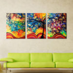 New Miico Hand Painted Three Combination Decorative Paintings Money Tree Wall Art For Home Decoration