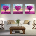 New Miico Hand Painted Three Combination Decorative Paintings White Flower Wall Art For Home Decoration