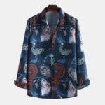 New Men Peacock Printed Spring Long Sleeve Lapel Casual Shirts