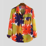 New Mens Autumn Big Flower Printed Long Sleeve Casual Shirts