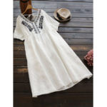 New Women Pure Color Embroidered V-Neck Backless Dress