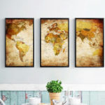 New Miico Hand Painted Three Combination Decorative Paintings World Map Wall Art For Home Decoration