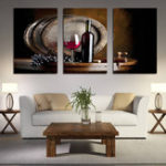 New Miico Hand Painted Three Combination Decorative Paintings Red W-ine Wall Art For Home Decoration