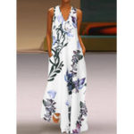 New S-5XL Elegant Women Sleeveless V-neck Floral Maxi Dress