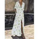 New Bohemian Women V-neck Elastic Waist High Split Floral Dress