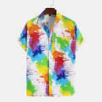 New Men Colorful Inkjet Print Short Sleeve Shirts