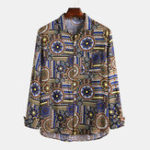 New Men Ethnic Retro Style Printed Spring Long Sleeve Lapel