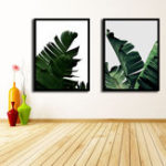 New Miico Hand Painted Combination Decorative Paintings Botanic Leaves Paintings Wall Art For Home Decoration