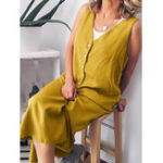 New Women Casual Loose Pure Color V-Neck Button Sleeveless Dress