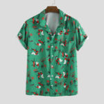 New Men Character Seahorse Printed Hawaiian Style Short Sleeve
