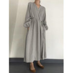 New Women Casual Loose Pure Color Side Pockets Long Sleeve Dress