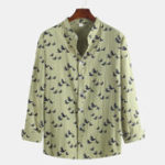 New Autumn Floral Printed Linen Long Sleeve Stand Collar Shirts