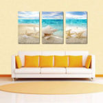 New Miico Hand Painted Three Combination Decorative Paintings Beach Shell Wall Art For Home Decoration
