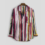 New Autumn Stripe Multi Color Printing Long Sleeve Casual Shirts