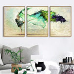 New Miico Hand Painted Three Combination Decorative Paintings Dancing Youth Wall Art For Home Decoration