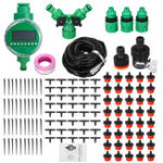 New 15/25/30/40/50m Drip Hose Water Irrigation System + Auto Timer Greenhouse Plants Kit
