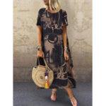 New Women Floral Printed Loose Short Sleeve Side Pockets Dress
