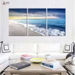 New Miico Hand Painted Three Combination Decorative Paintings Seaside Scenery Wall Art For Home Decoration