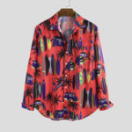 New Men Tropical Beach Printed Hawaiian Style Long Sleeve Lapel