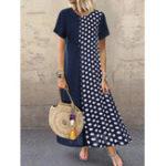 New Women Polka Dot Patchwork Short Sleeve Summer Dress
