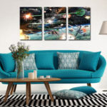 New Miico Hand Painted Three Combination Decorative Paintings Spaceship war Wall Art For Home Decoration