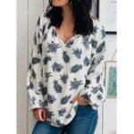 New Casual Women Print V-Neck Short Sleeve Blouse
