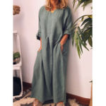 New Crew Neck Loose Casual Solid Maxi Dress
